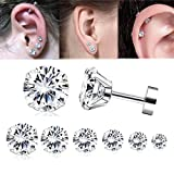 (US) Adramata 7 Pairs 20G Cartilage Earring for Women Men Tragus Stud Earrings Shiny CZ 2-8MM
