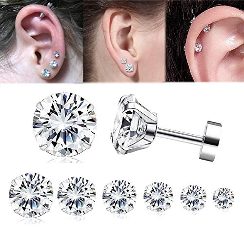 Adramata 7 Pairs 20G Cartilage Earring for Women Men Tragus Stud Earrings Shiny CZ 2-8MM