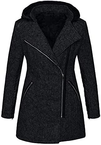 NOMUSING Overcoat for Women Casual Warm Slim Jacket Thick Parka Outerwear Winter Outwear Hooded Zipper Coat with Pocket
