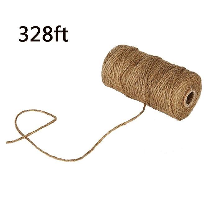 ATPWONZ Natural Yute cuerda de cáñamo enrollado 90m -100m ideal para regalos, boda, jarrones, libros y otra decoración del arte: Amazon.es: Jardín