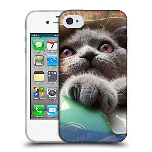 Just Phone Cases Coque de Protection TPU Silicone Case pour // V00004254 Chat dans la boîte en carton // Apple iPhone 4 4S 4G