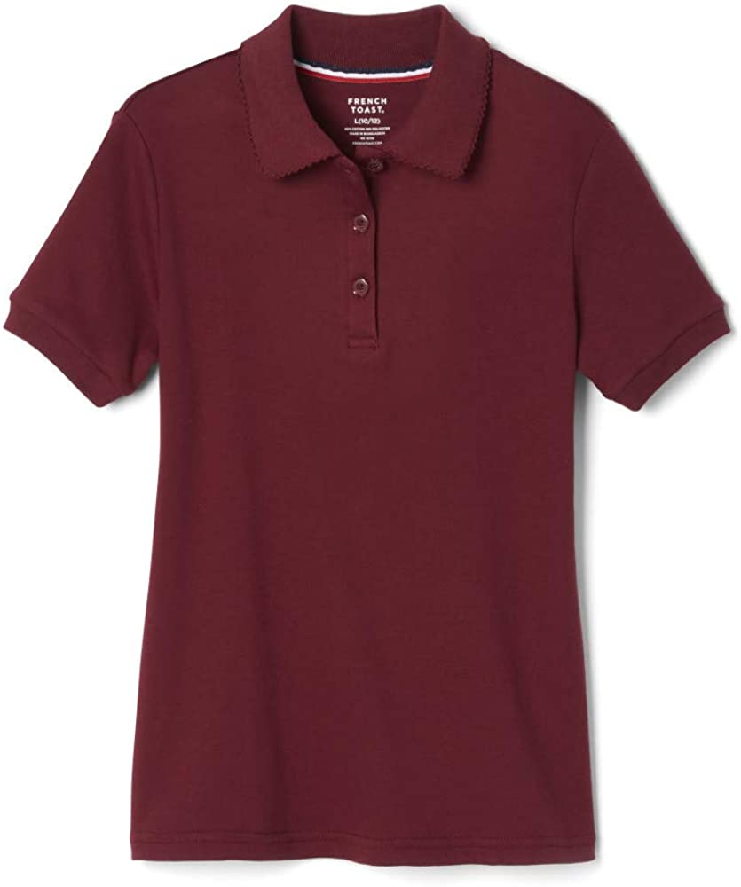 French Toast Girls' Short Sleeve Picot Collar Polo Shirt (Standard & Plus)