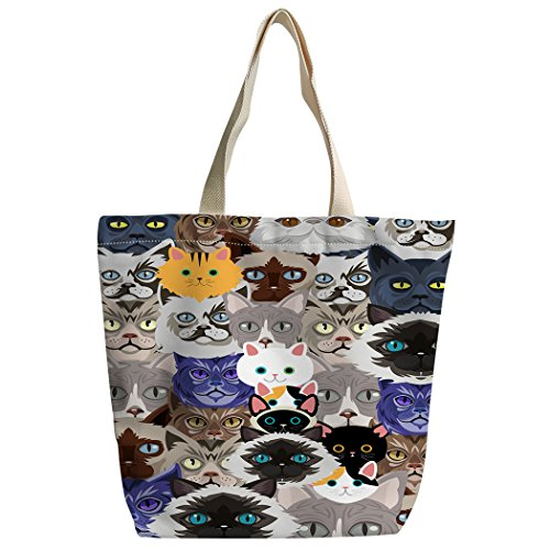 SXCHEN Beautiful Cartoon Cats Kat pet Gray Custom Canvas Tote Bag Handbag