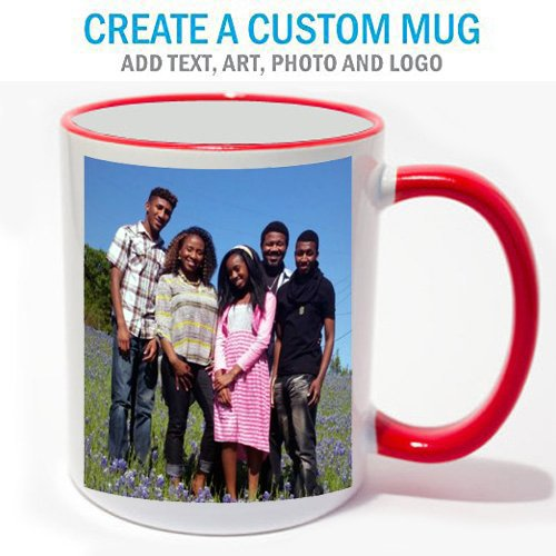 Personalized Coffee Photo Mug Red Trim (Personalized Photo Mugs compare prices)
