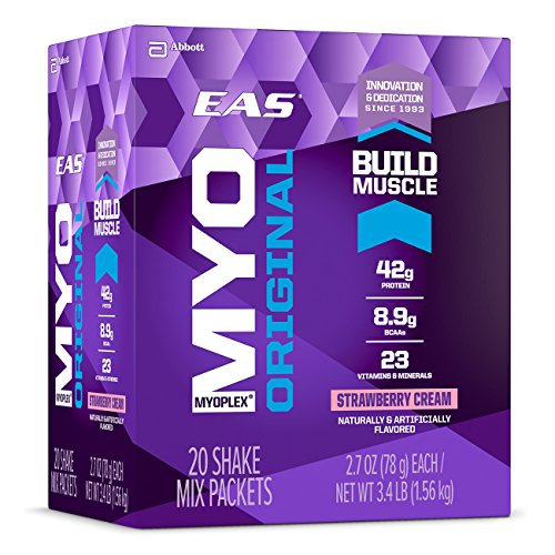 EAS Myoplex Original Protein Shake Mix Packets, Strawberry Cream, 2.7 oz packets, 20 servings