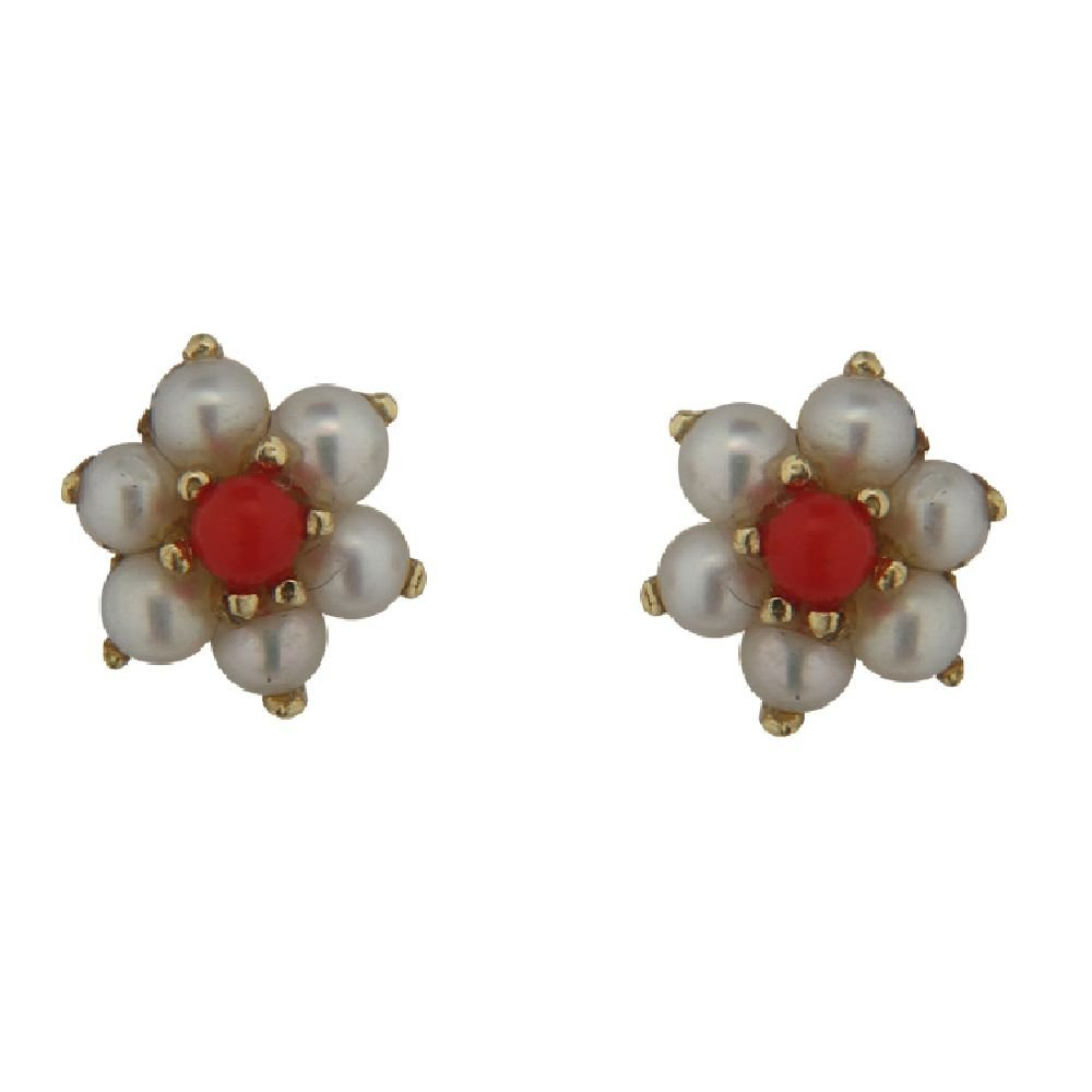 5mm 18K Yellow Gold Cultivated Pearls with Coral paste center Flower Earrings with covered screwbacks