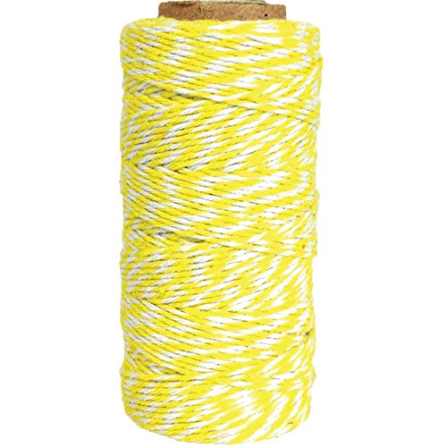 (Just Artifacts ECO Bakers Twine 240yd 4Ply Striped Lemon Yellow - Decorative Bakers Twine for DIY Crafts and Gift Wrapping)