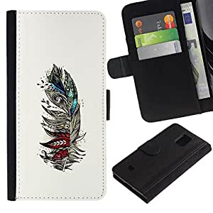All Phone Most Case / Oferta Especial Cáscara Funda de cuero Monedero Cubierta de proteccion Caso / Wallet Case for Samsung Galaxy S5 Mini, SM-G800 // Feather Birds Abstract Art Drawing