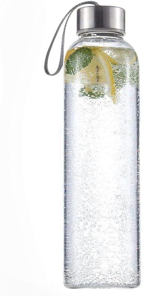 Botella de vidrio, 500 ml., con correa para transporte, ecológica ...