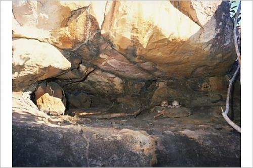 Photographic Print of Aboriginal burial in rock cavity, with roof painting, near King Edward River