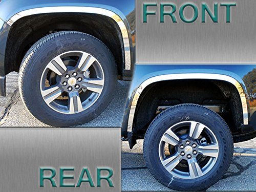 WQ55150 QAA FITS Colorado 2015-2019 Chevrolet 4 Pc: Stainless Steel Wheel Well Accent Trim w// 3M Adhesive /& Black Rubber Gasket - 1.5 Wide, 4-Door, SUV
