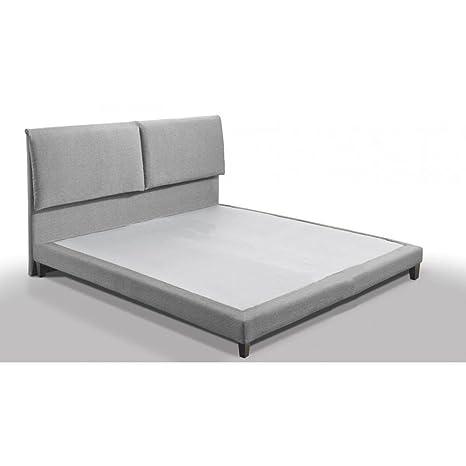 Cama diseño de alta definición Balzac 140 * 190 cm Tejido Tweed gris Silex