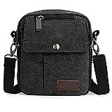 Vintage Canvas Bag Casual Shoulder Crossbody Bags (Black)