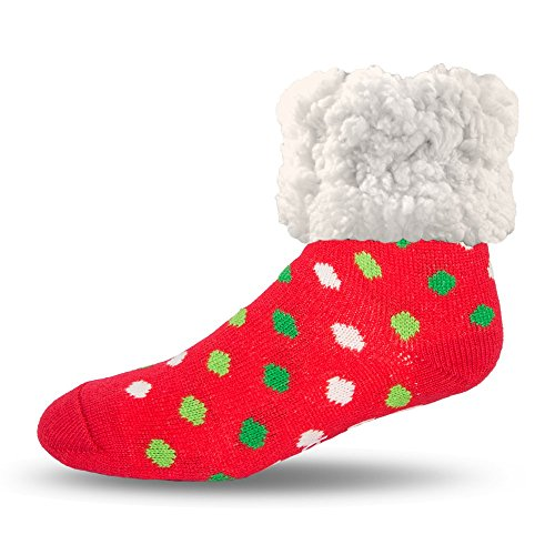 (Pudus polka dot red with green adult regular cozy winter classic slipper socks with grippers)
