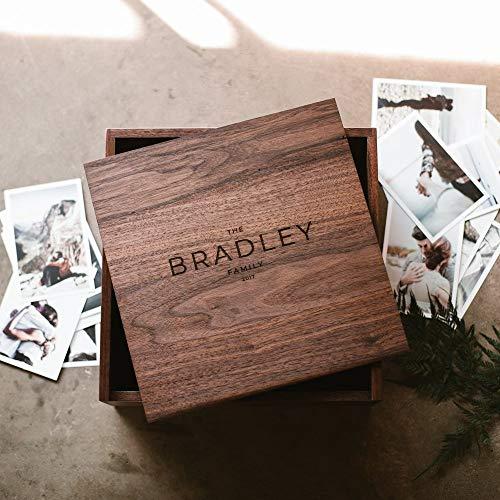 Large Keepsake Box - Engraved Wooden Box - Wood Photo Box - Personalized Walnut Memory Box - Wedding Card Box - Custom Wooden Box