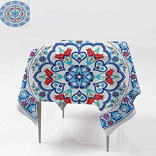 (SONGDAYONE Modern Square Tablecloth Antique Ottoman Turkish Style Art with Tulip Period Ceramic Floral Elements European Print Easy to Care Multicolor W70 xL70)