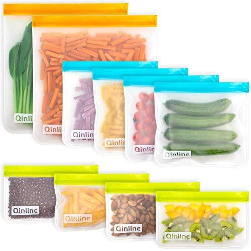 Reusable Storage Bags - 10 Pack BPA FREE Freezer Bags( 2 Reusable Gallon Bags + 4 Leakproof Reusable Sandwich Bags + 4 THICK Reusable Snack Bags) Lunch Bags for Food Marinate Meat Fruit Cereal