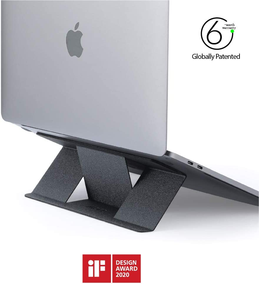 "MOFT Invisible Compact Laptop Stand, Adhesive and Reusable, Mini Version, 25° Adjustable Angle, Compatible with Laptops Up to 15.6""(Grey)"