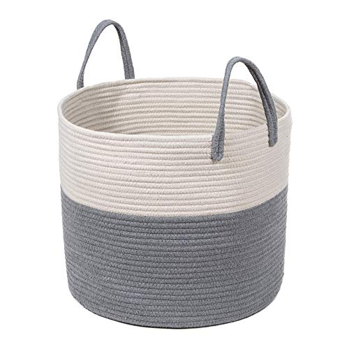 (Extra Large Cotton Rope Basket 17 x 14.7 with Handles, for Baby Laundry Basket Woven Blanket Basket Nursery Bin)