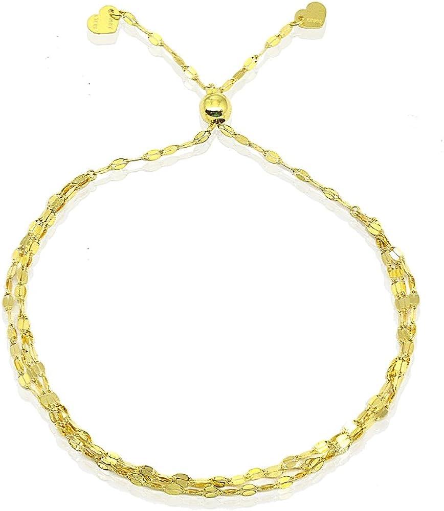 "14K Gold Chain Triple Mariner Italian Adjustable Bracelet, 9"""