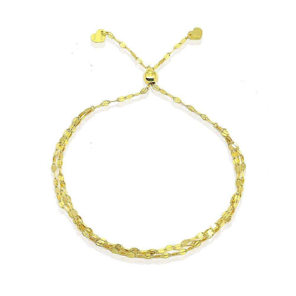 14K Gold Chain Triple Mariner Italian Adjustable Bracelet, 9'' by Hoops & Loops