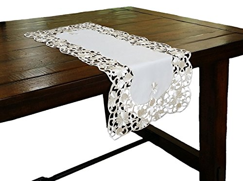 Xia Home Fashions Daisy Lace Embroidered Cutwork Spring Table Runner, 16-Inch by 34-Inch -