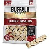 Buffalo Range Rawhide Dog Treats   Healthy, Grass-Fed Buffalo Jerky Raw Hide Chews   Hickory Smoked Flavor   Jerky Braid, 10 Count