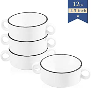 Ceramic Bowls with Handles - 12 Ounce for Soup, Cereal, Stew, Chill, Porcelain Souffle Cup, Set of 4, White with Black Line