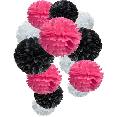 Paper Flower Tissue Pom Poms Party Supplies (black,rose pink,white,12pc)