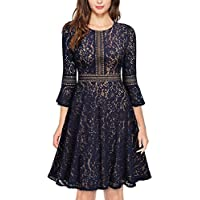 Glamulice Womens Valentines Vintage Floral Lace Dress Swing Cocktail A-Line Party Dresses Navy Blue Medium