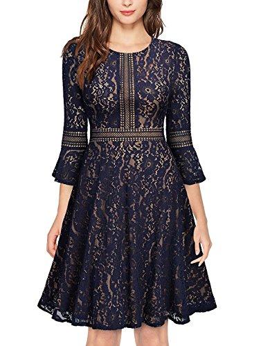 A-line Sheath (Glamulice Women's Vintage Floral Lace Dress Swing Cocktail A-Line Party Dresses)