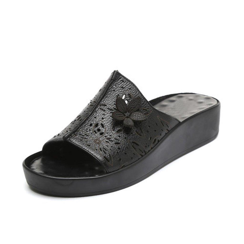 YUBIN Chanclas Sandalias De Cuero Genuino Zapatos De La Madre Flip Flop Inferior Gruesa Antideslizante Fondo Suave Zapatos De Mujer Sandalias Suave Transpirable (Color : A, Tamaño : 38) 38 A