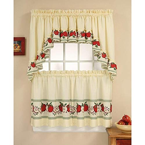 3 Piece 24 Inch Red Color Delicious Apple Curtain Tier & Swag Set, White Background Fishtail Nature Pattern Fruits Pink Blossoms Green Leaves Antique Vintage Novelty Modern Stylish Vibrant, -