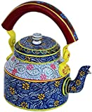 Craftkriti Decorative Made in India Blue colored Hand-Painted Aluminum Vintage Tea Pot/Tea Kettle Use in Culture Function, Picnic & Showpiece Home Décor by