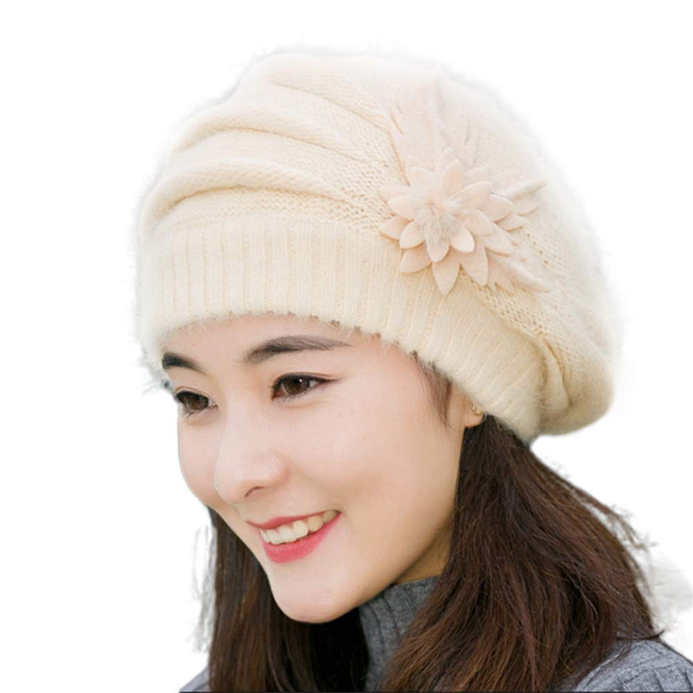 7f806026a8d Amazon.com  ❤️Ywoow❤️Fashion Womens Flower Knit Crochet Beanie Hat Winter  Warm Cap Beret (Beige)  Sports   Outdoors
