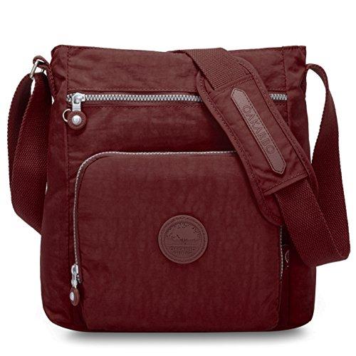 Oakarbo Crossbody Bag Nylon Multi-Pocket Travel Shoulder Bag (1301 Cool Gray) 1301 Wine Red