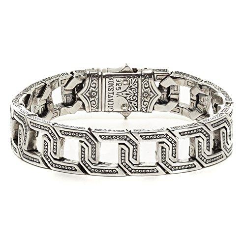 (Konstantino Sterling Silver Square Etched Link Bracelet)