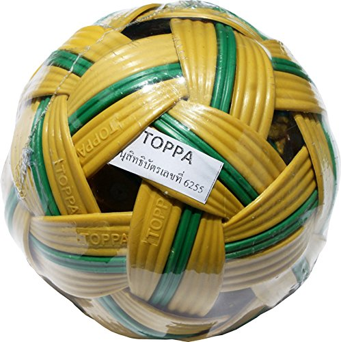Full Funk Plastic Hard Takraw Ball Thai Team Footsack Hardcore Hacky Sport, Dark Yellow with Green Stripe (Team Ball Factory)