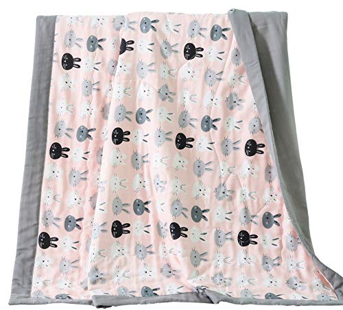 (J-pinno Rabbit Bunny Cute Muslin Quilt Blanket Bedding Coverlet, 100% Cotton Comforter Bedspread Throw Blanket for Baby Toddler Crib Bedroom Decoration Gift (8, Toddler 47
