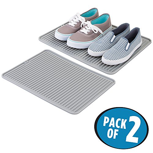 mDesign Silicone Floor Mat for Winter, Rain, Work Boots/Shoes - Pack of 2, Gray