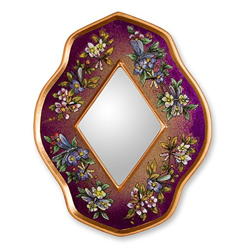 NOVICA Reverse painted glass mirror, Purple Summer (Reverse Painted Wall)