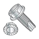 Steel Thread Cutting Screw, Zinc Plated Finish, Serrated Hex Washer Head, Slotted Drive, Type 23, 3/8''-16 Thread Size, 1'' Length (Pack of 10)
