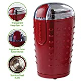 Cuisinart Coffee Grinder Red Ovente One-Touch Electric Coffee Grinder and Other Spices-Seeds, Nuts, Grains-Stainless Steel Blades, Maroon (CG225M), 2.5oz,