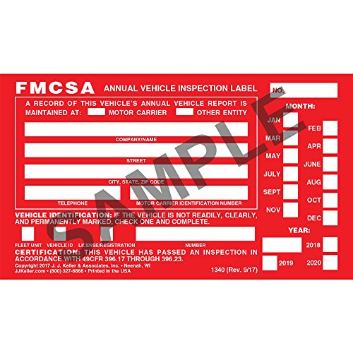 20 Annual Vehicle Inspection Label - Aluminum w/Punch Boxes
