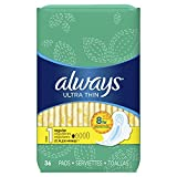 Always Ultra Thin Size 1 Regular Pads With Wings, Unscented, 36 count (Pack of 2)- Packing may vary