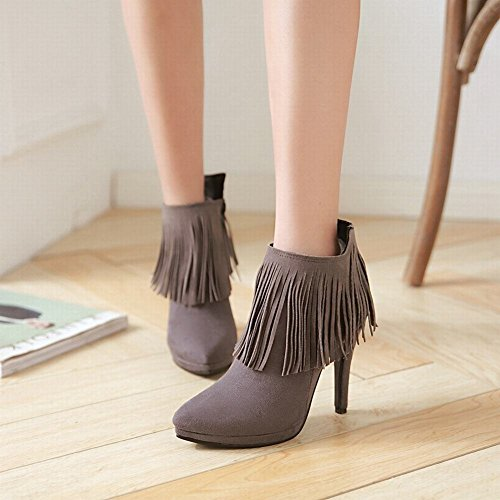 Mee Shoes Womens Sexy High Heel Nubuck Tassles Ankle-high Boots Grey bSHt4