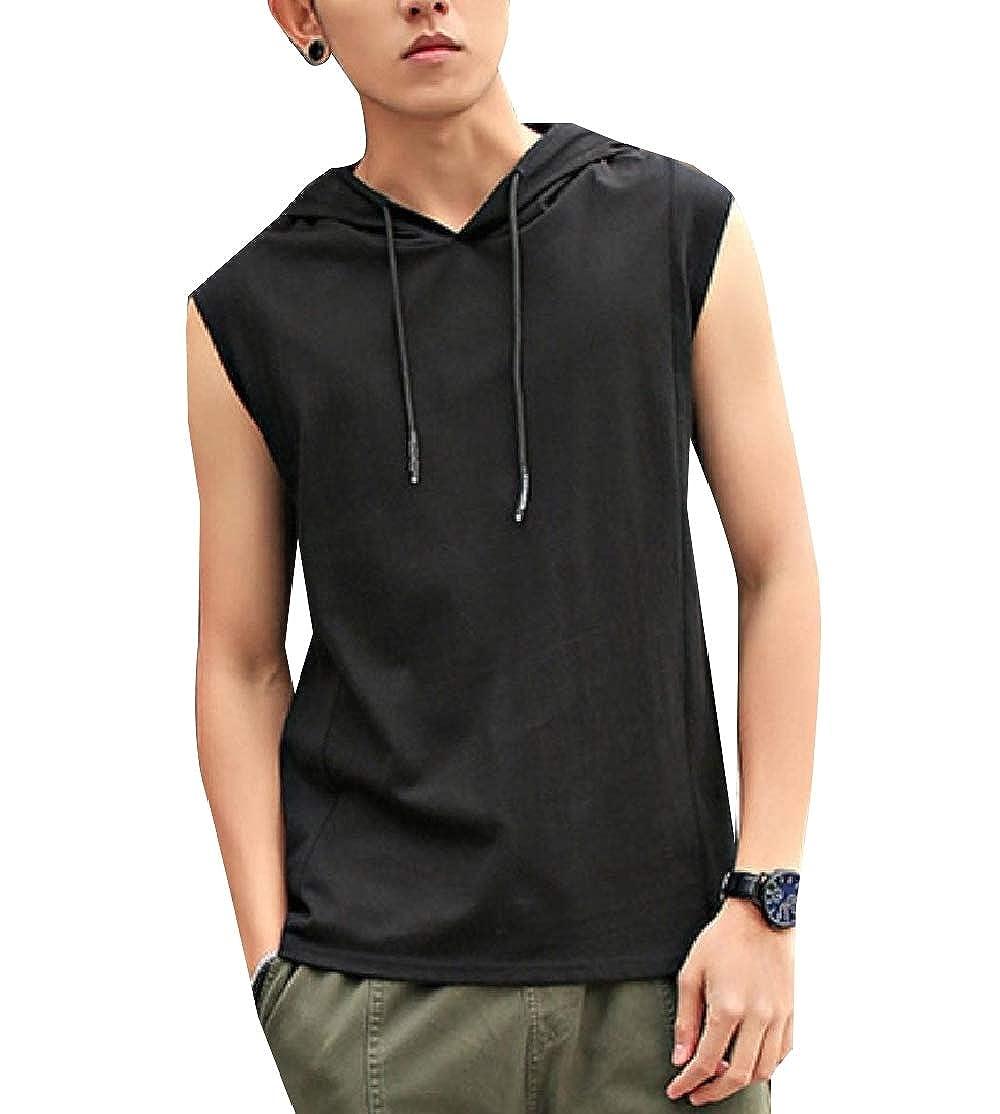 Comaba Mens Fashion Sleeveless Hooded Back Cotton Blouse Shirt Tops
