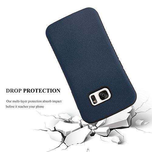 Cadorabo - Cubierta protectora Híbrido para Samsung Galaxy S7 de silicona TPU y una Carcasa Dura en Diseño Slim Waist con la Parte Trasera engomada y antideslizante - Case Cover Funda Carcasa Protecci AZUL-MARINO