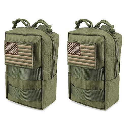 AMYIPO MOLLE Pouch Multi-Purpose Compact Tactical Waist Bags Small Utility Pouch (Green (2 PCS))