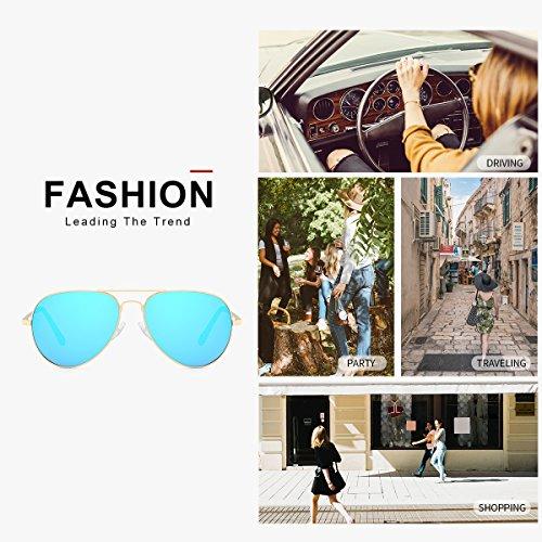 Protección Marco Espejo de Dorado Azul de UVA Marco Metal Sol Gafas 100 UVB Lente Polarizadas Aviador Mujer I7f6q8